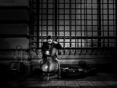The Cello Player (Mexico City. Gustavo Thomas © 2014) (Gustavo Thomas) Tags: people blackandwhite musician music classic monochrome méxico portraits calle gente streetphotography player mexican cello strata instruments rue mexicano streetmusician