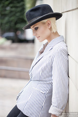 2015_07_30 Georgia W 542 WM (Sendall) Tags: portrait sexy london beautiful beauty hat fashion gorgeous location blonde stunning editorial canarywharf androgyny trilby androgynous isleofdogs