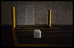 FOURTH DOWN--THREE YARDS TO GO (akahawkeyefan) Tags: plastic jug posts yellow lines doors wall kingsburg davemeyer