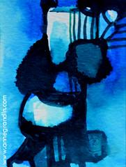XS : Etrange crépuscule - 2016_180 (annegrandin) Tags: xs 2016 painting small dessin illustration miniature peinture french france art contemporain moderne modern strange etrange ink encre bleu nuit night blue étrange surréaliste sourire smile personnage extra terrestre céruléen oeil eye light lumière clair obscur twilight