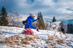 Having Fun With Denzel Malamute (Wolfhowl) Tags: carpathians fun landscape winter dzembronia mountains 2016 карпати clouds january alaskanmalamute дземброня маламут dog denzel snowdog snow ukraine україна malamute
