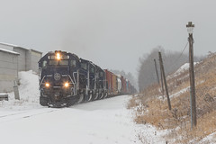 Breaking trail in Belgrade (Thomas Coulombe) Tags: panamrailways panam powa emdsd402m sd402 sd402m freighttrain train belgrade maine snow photography