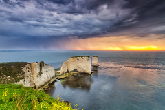 Old Harry Rocks Sunrise Storm (mpelleymounter) Tags: dorsetlandscape dorsetseascape dorsettourism seascape clouds storm sunrise jurassiccoast dorsetareaofoutstandingnaturalbeauty dorsetaonb markpelleymounter oldharryrocks oldharry seastacks tide cliffs clifftops studland isleofpurbeck chalk unescosite nationaltrust