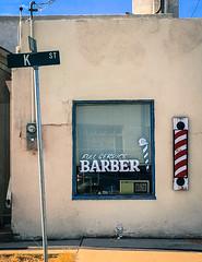 bad hair day (Maureen Bond) Tags: barber desert smalltown ca maureenbond closed streetsign building shop cut hair pole window woodsign hangout community gossip stories americana