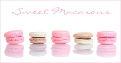 Sweet (Karen_Chappell) Tags: pink white pastel food sweet macaron macaroon cookie candy meringue stilllife reflection row line five 5 pretty