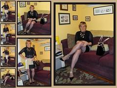 Color Block Dress (krislagreen) Tags: turbocollage tg tgirl transgender transvestite cd crossdress dress hose cardi pumps patent purse femme feminaized feminization feminine