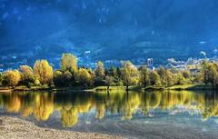 Il Campanile (giannipiras555) Tags: landscape panorama chiesa campanile lago riflesso alberi autunno spiaggia riva nikon