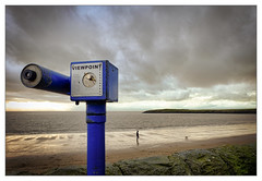 Viewing Point (tina777) Tags: viewing point beach seaside sand waves sea clouds sky harbour wall friars barry island vale glamorgan wales photoshop elements topaz adjust dramatic ononesoftware person people man dog heritage coast south winter 2017
