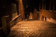 Un fantôme dans l'escalier (Gilderic Photography) Tags: liege belgium belgique belgie night stairs city girl ghost blur strange mystery panasonic lx3 gilderic