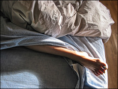 Leg, foot, flannel sheets, strong sunlight....what could be better...hmmmm (shadowplay) Tags: morning light texture foot bedroom toes leg flannel hmmmm comforter