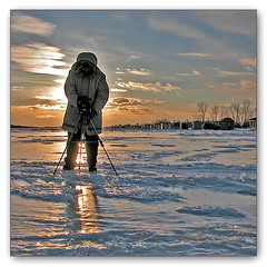 Imapix at  Work (Renald Bourque) Tags: winter sunset cold ice nature mrjackfrost nikon alone photographer hiver québec outline froid 4winter glace réflection hivernale