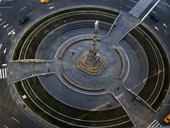 centre of the universe (416style) Tags: park city nyc newyorkcity columbus urban newyork west monument yellow circle time o manhattan cab taxi centre central sookie cnn warner piazza crosswalk universe columbuscircle timewarner cabs birdseyeview bigshot 416style worldcitycenters top20nyc worldcitycentres plaxa