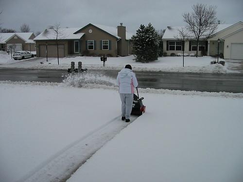 Noelle Clearing Snow