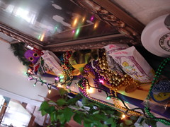 Decorations for Mardi Gras (Deep Fried Kudzu) Tags: decorations moon beads peach pies nectar gras mardigras mardi moonpie hubigs doubloons