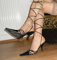 Black Strappy sandals (HHL) Tags: wearing high shoes highheels heels stiletto postyourshoes heelsformen