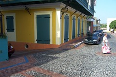 Crossing the street (peacepinot) Tags: yellow corner crossing puertorico cobblestone