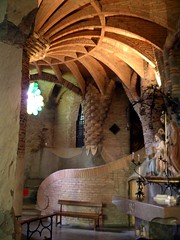 Church, Colonia Guell (flambard) Tags: barcelona brick church architecture modern spain catholic mary christian spanish clay gaudi colonia catalunya pillars guell twentieth