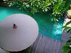 emerald pool with umbrella (inklake) Tags: trip travel canada topf25 water topv111 thailand hotel topv333 perfect chiangmai interestingness315 i500 inklake