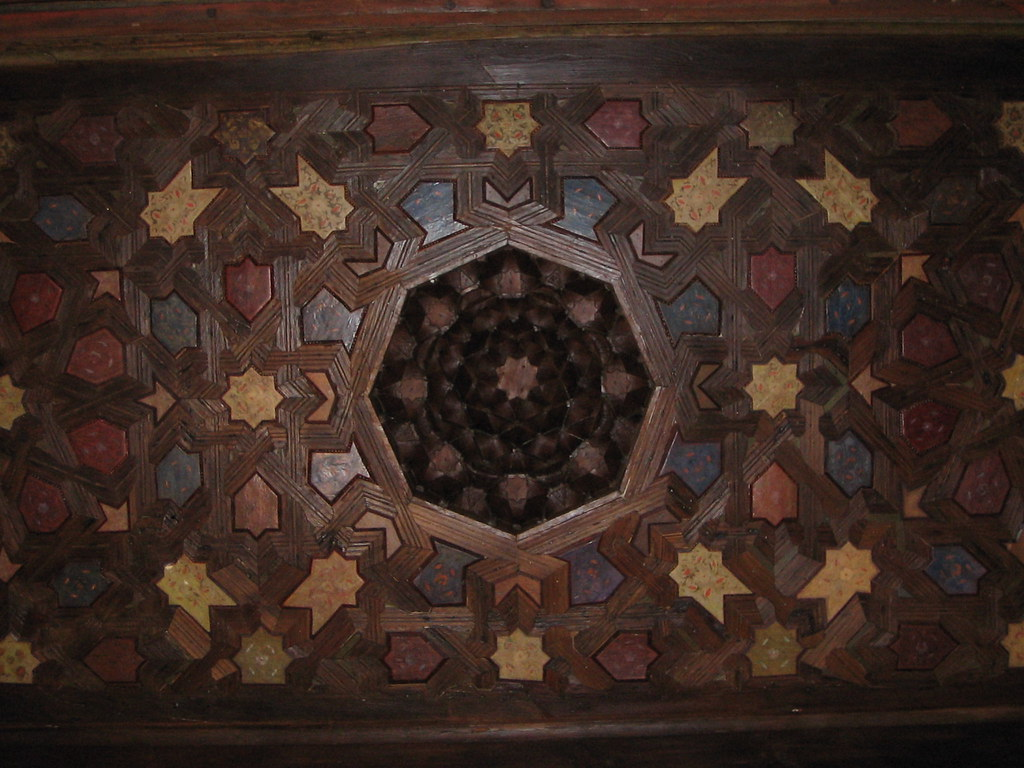 Decorative wooden ceiling in the Mexuar