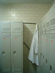 Locker room with lonely lab coat (jepoirrier) Tags: lab room coat locker cyclotron