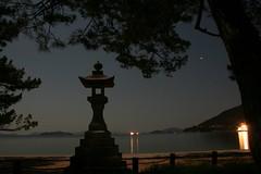 Katsuragahama (kamoda) Tags: beach silhouette japan night stars hiroshima pines moonlight lantern kure ishidoro  kurahashi katsuragahama