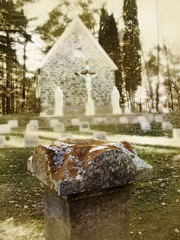 Mossy Grave Before a Crucifix (zenosaurus) Tags: cemeteries church strange cemetery grave death dream dreams crucifix