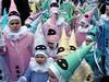 Carnival Kids (geofana) Tags: carnival pink people green fashion geotagged belgium smiles enjoy kitch binche interestingness225 i500