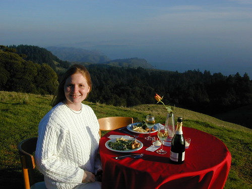 Sandra at the Engagement Dinner table on Mt.Tam