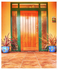 Front Door DILO (Brenda Anderson) Tags: door wood orange plants wooden timber entrance tiles hdr ourhome gettyimages curiouskiwi 3xp photomatix dilomar06 dilomar06door utataopensthedoor brendaanderson utata:project=v3test3 curiouskiwi:posted=2006