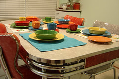 Fiesta! (craftybeaver) Tags: kitchen set fiesta retro chrome fiestaware formica ware dinette dinetteset