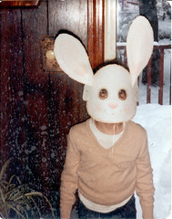 Psychotic Easter Bunny (T_Wrecks) Tags: snow rabbit bunny tom easter newjersey sweater mask nj oldpictures 1980s panelling