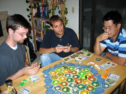 Shorel, Ryan and Wilbur playing Catan