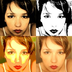 four versions of a young white blond female, left to right and top to bottom: high contrast sepia tone, black and white, posterized, regular photo