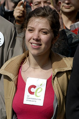 Julie Coudry (Alain Bachellier) Tags: portrait people woman art girl smile demo femme joy jeunesse demonstration laugh fille sourire joie manif manifestation rire politic cpe jeune etudiante revendication syndicat