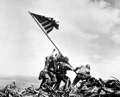 Raising the 2nd flag on Mount Suribachi (Anima Fotografie) Tags: bw history blackwhite war flag ww2 marines iwojima sacrifice oldglory atop starsstripes steiner62 joerosenthal