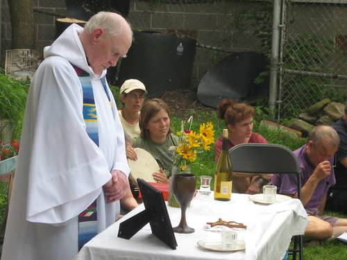 Father Bernie Gilgun prepares for mass