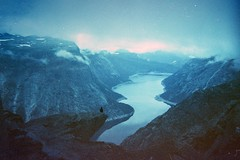 (Øystein Aspelund) Tags: 35mm film expired svema view scenery trolltunga nordic nature norway silhouette lake rocks water fog clouds