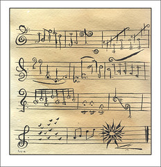 Fused Fugue (Small the Beetle) Tags: drawings ink teastains art music manuscript jazz clef fugue note