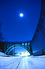 flip side (judyboy) Tags: longexposure nightphotography bridge chimney moon distortion snow cold night train hydrant photography industrial traintracks stack full fisheye nikonf100 rhodeisland lincoln exploration cumberland flipside wintery icyroad ashtonmills 051214ashtonmills orionthearcher superfantastique3 hiddenhydrant kodakekta160t davidgongallrightsreserved