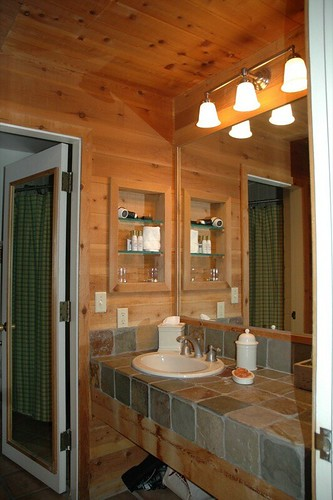 Stone and Wood Rustic Bathroom