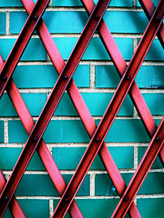 Security Gate (Closed) (Matt Niemi) Tags: abstract green pink brick wall