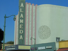 alameda theater (pbo31) Tags: california color sign northerncalifornia yard port island oakland bay closed neon ship character navy favorites container sanfranciscobayarea bayarea font neonsign eastbay hornet script alameda navel base uss alamedacounty seafoam metroarea urbanarea greaterbayarea