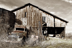The Era of Depression (| HD |) Tags: ranch wood old history 20d abandoned car sepia oregon truck canon major time farm empty southern simplicity era depression timeline vehicle hd wreck drama darwish remains weeklysurvivor hamad wreckage medford foresaken