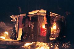 Yurt at Night (Voxphoto) Tags: snow night michigan yurt candlelight fujisuperia1600 yurtnewyears06