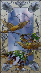 Stained Glass 'Bird Study'