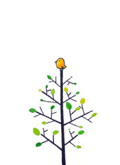 a little bird on tree (Bubi Au Yeung) Tags: tree green bird leaves illustration watercolor alone bubi