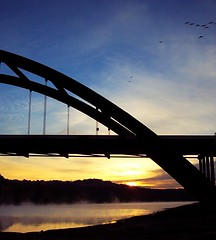 sunrise (TexasValerie) Tags: coloradoriver sunrise 360 bridge austin texas winter river mist birds