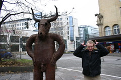 Impersonating a statue (Joel Veitch) Tags: joelveitch jacquiveitch stuttgart filmwinter germany holiday impersonating statue scrotum horns testicles retractable penis sinister blackmagic
