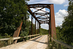 Old Metal Truss Bridge (Viajante) Tags: road county bridge texas historic truss erathcounty