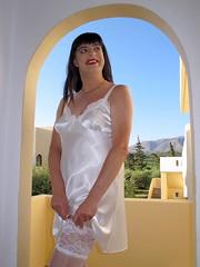 Stocking tops (Paula Satijn) Tags: white holiday sexy stockings girl smile happy shiny silk tgirl crete satin gurl silky chemise nightie